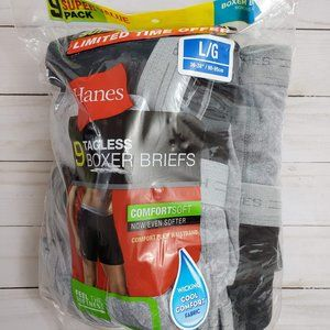 8 Pairs Hanes Tagless Boxer Briefs Large 36 -38